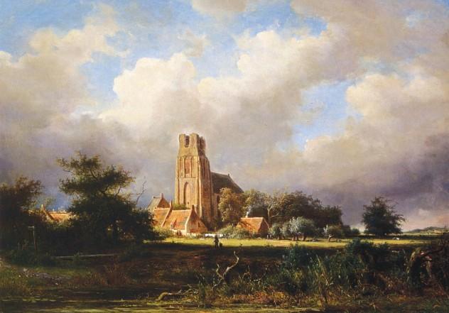 Zicht op Ransdorp. Schilderij van Jan Frederik van Deventer (1822-1886)