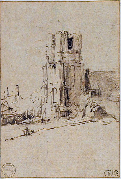 The Church of Ransdorp in Waterland - drawing (ca. 1650) by Rembrandt van Rijn